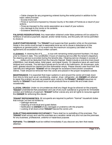 Standard Vacation Rental Agreement Template Free Download Free Condo Rental Agreement Template