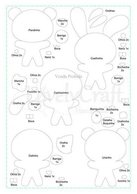 felt templates animals moldes panda coelho cachorro gato urso moldes