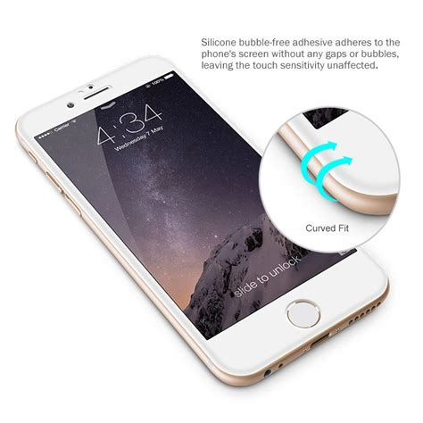 curved fit tempered glass screen protector iphone  white