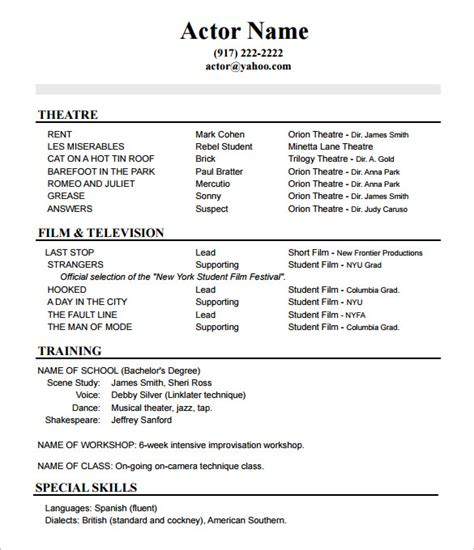 actor resume template acting cv template theatre exles of actors resumes