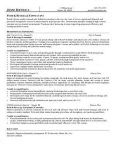 Beverage Director Sle Resume by Food And Beverage Manager Resume Source