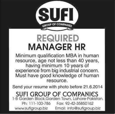 Pg Mba Hrm by Manager Hr In Sufi Of Companies Lahore 2014