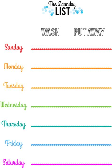 Laundry Schedule Glimmersnaps Laundry Schedule Template