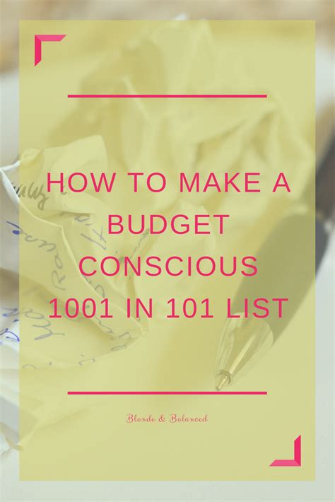 Fab Things For The Budget Conscious by How To Make A Budget Conscious 101 In 1001 List