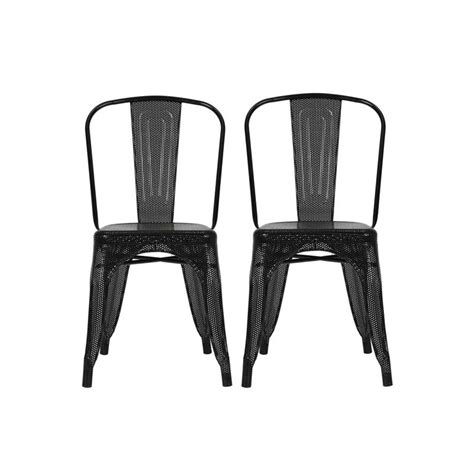set of two metal dining chairs metal mesh dining chair in black set of 2 c000001