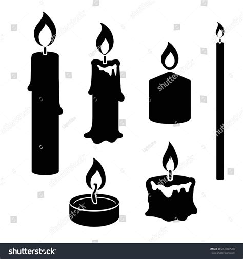 Candle Light Aromatherapy Nede02 White set black white silhouette burning candles stock vector