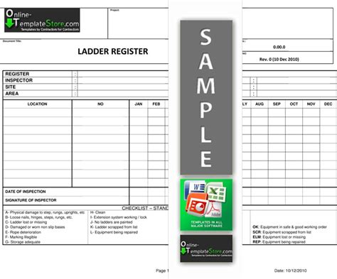 ladder inspection template health safety forms construction templates