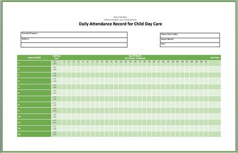 attendance report template 6 best images of printable day care sheets day care