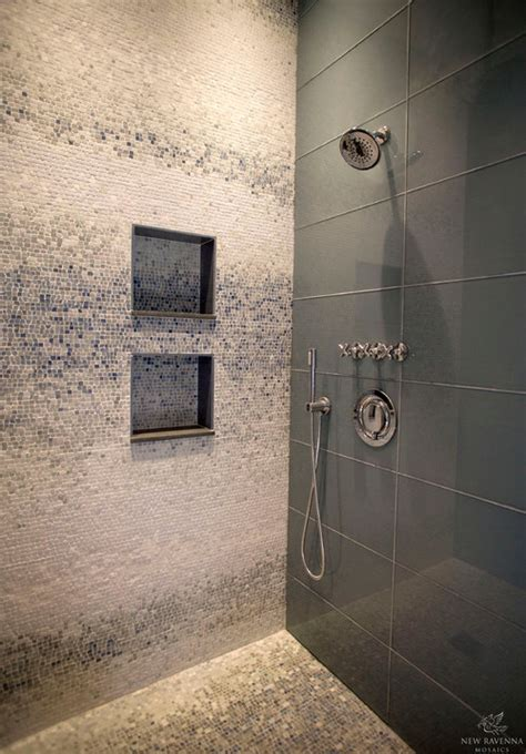 mosaic tile bathroom houzz shiny tile