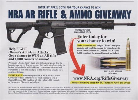 Nra Giveaway - nra ar rifle giveaway ad selling the second amendment by gregory smith