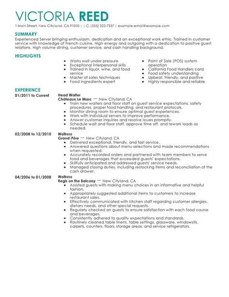 Resume Highlights server food and restaurant resume slesummary highlights