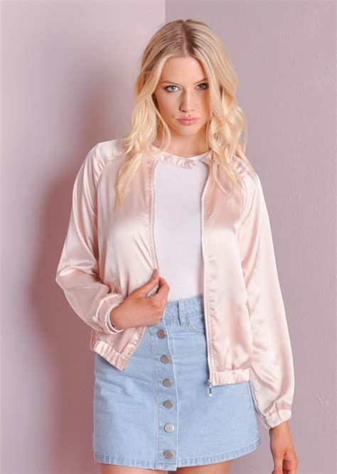 light pink bomber jacket ma 1 satin zip up light weight satin bomber jacket pink