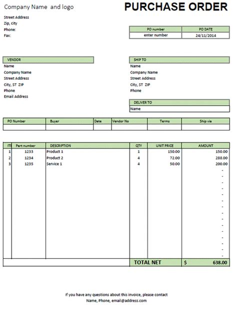 Purchase Order Invoice Template