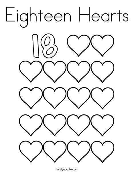 number 18 template eighteen hearts coloring page twisty noodle