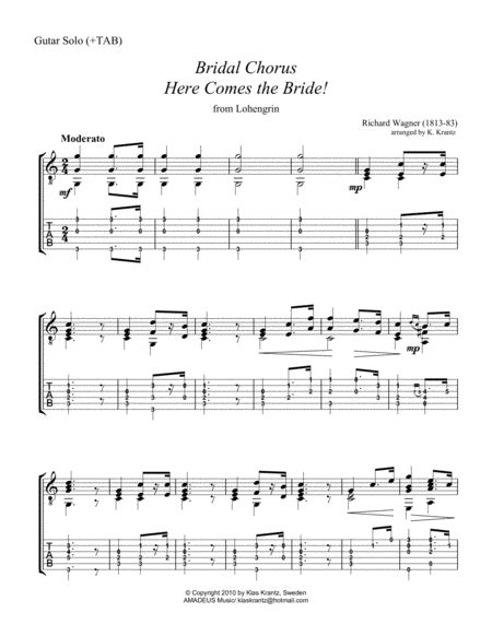 Here Comes The Bride Guitar Chords