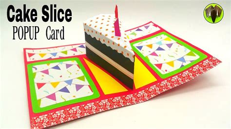cake pop up card without template cake slice popup card birthday theme diy tutorial by