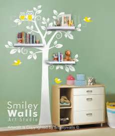 Tree Wall Sticker With Shelves children wall decal nursery decal wall sticker shelves tree decal