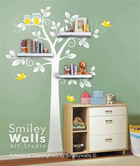 Tree Wall Decals For Nursery Etsy Shelf Tree Wall Decal Tree Wall Decal Shelving Tree Wall Decal