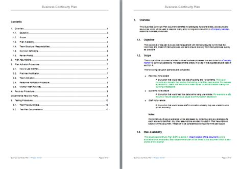 business continuity plan template doc