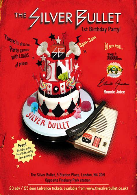 design birthday flyer jamie smith design silver bullet 1st birthday flyer
