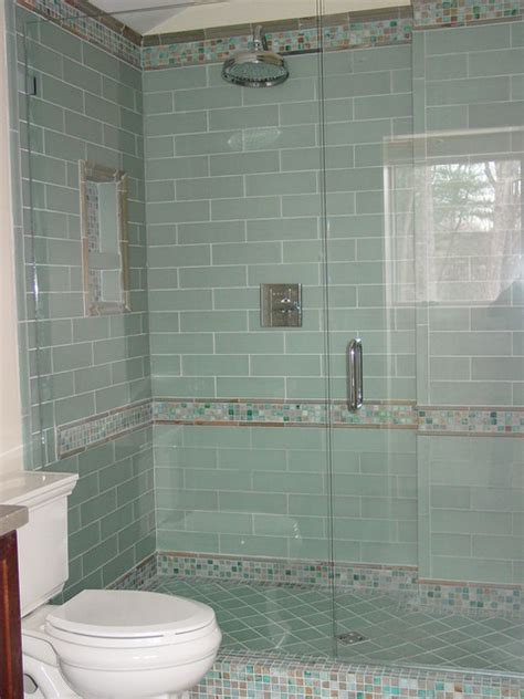 Glass Tile Bathroom Ideas by Blue Glass Tile Shower