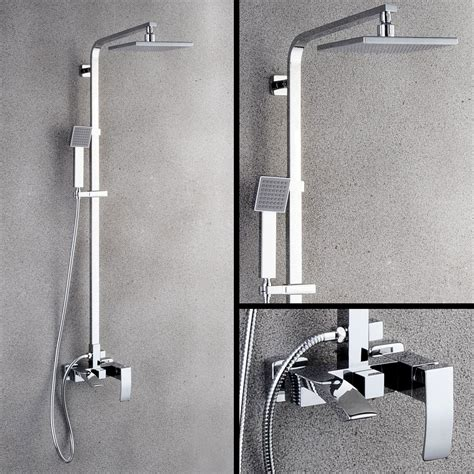 chrome exposed mixer shower system