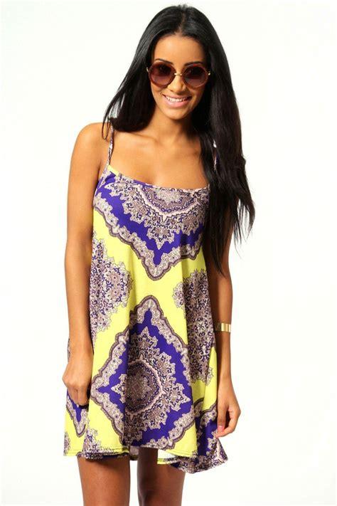 paisley swing dress nadine neon paisley swing dress at boohoo com