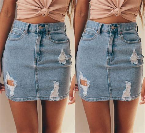 Denim Pencil Mini Skirt womens ripped rip detail stretch denim mini skirt pencil