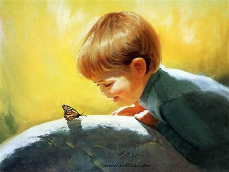 painting child the dead butterfly