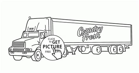 Semi Coloring Pages by Semi Truck Trailer Coloring Page For Transportation