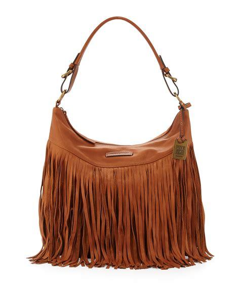 frye heidi leather fringe hobo bag in brown whiskey lyst