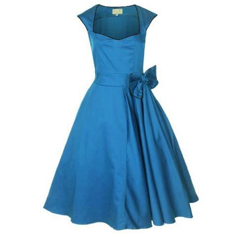 50er jahre 50er jahre rockabilly kleid blau mit schwarzem saum