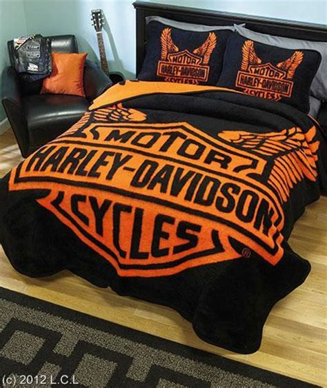 Harley Davidson Bedding by Classic Harley Davidson Wings Logo High Pile Fabric