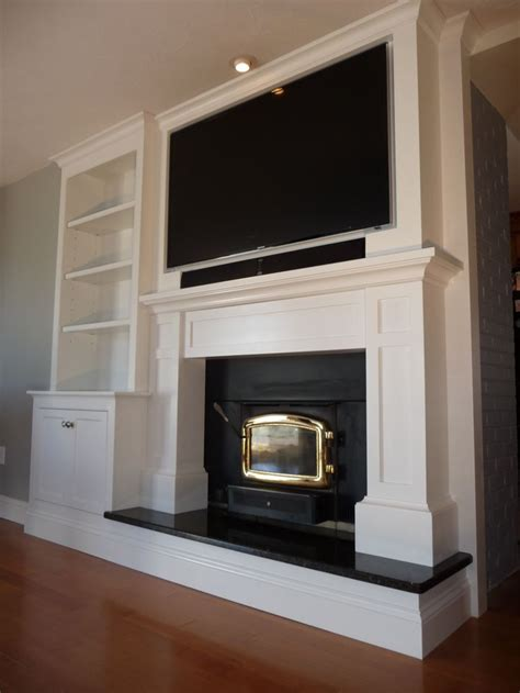 This Custom Mantle Tv Cab Built In Was Built Over Tv With Fireplace