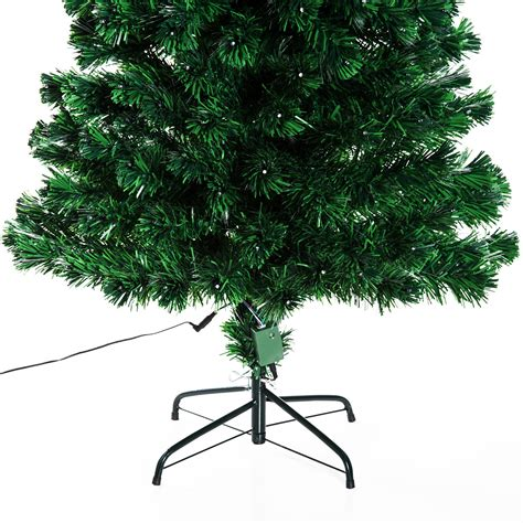 homcom 6ft pre lit led optical fiber christmas tree