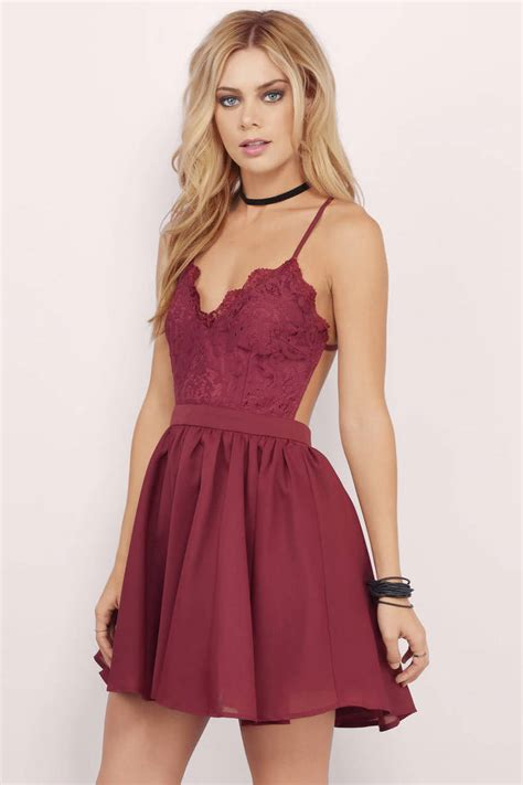 Dress Alaer Maroon Lg mila burgundy lace pleated sleeveless skater dress 64 00 tobi