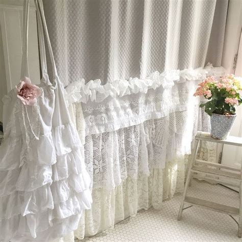 bohemian lace ruffle shower curtain shabby chic style