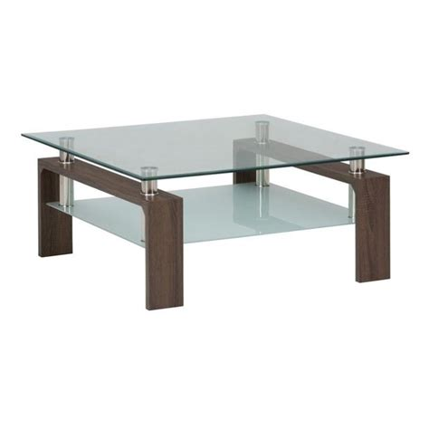 jofran compass glass square coffee table in chrome and