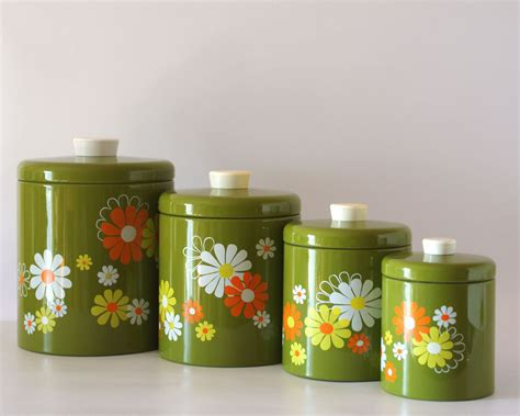 retro canisters kitchen vintage ransburg canister set avocado with white yellow
