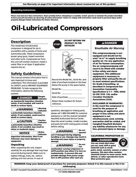 campbell hausfeld air compressor user manual  pages