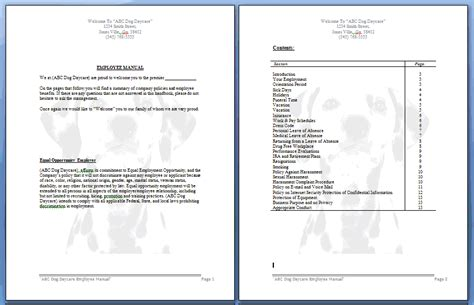 Employee Manual Basic Dog Daycare Dog Boarding And Dog Grooming Paws Free Salon Employee Handbook Template