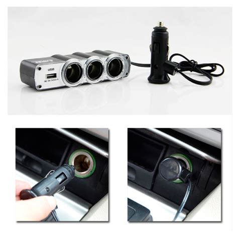 Splitter Original 100 usb port 3 way car cigarette lighter socket splitter 12v
