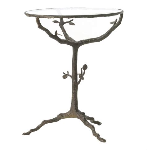 tree branch end table sherwood sculpted tree branch bronze pedestal side accent
