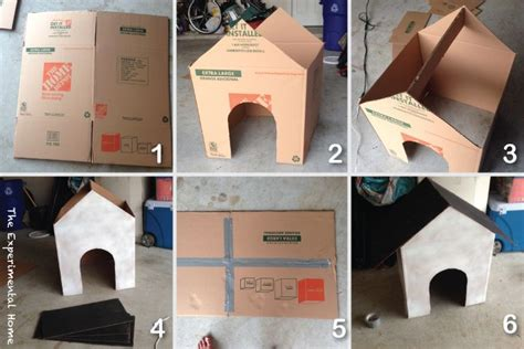 How To Make A Cardboard Box Dog House At Theexperimentalhome Com Cardboard Love