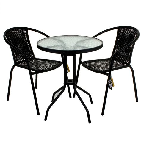 bamboo glass table and chairs 3 5 bistro set black wicker rattan woven chairs