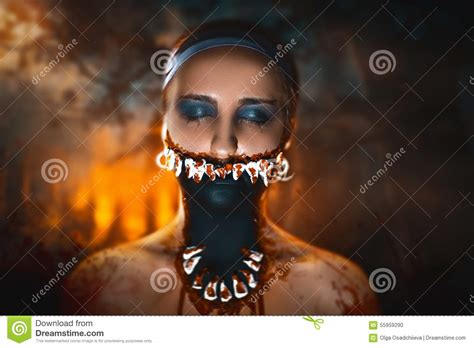 film build up in mouth woman monster stock photo image 55959290