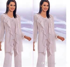 New mother of the bride pant suits hot sale elegant chiffon pleat long