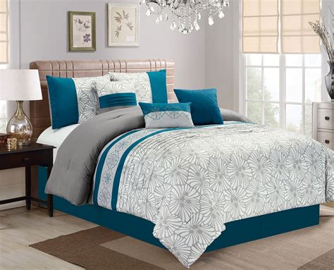 Teal Queen Comforter Set 7 Piece Flora Print Teal Gray Ivory Comforter Set