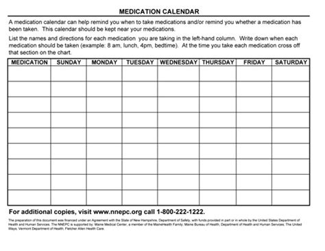 Medication Calendar Northern New England Poison Center Medication Chart Template For Patients