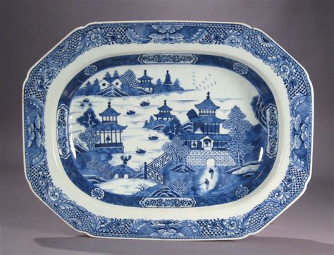 Chinese Export Porcelain Blue and White Deep Well Platter   DUBEY'S ART & ANTIQUES